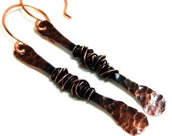 Long Dangle Earrings, Hammered Jewelry, Antiqued Copper Earrings, Wire Wrapped Jewelry