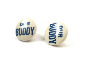 vintage earrings 1950s button pinback handmade our buddy