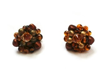 vintage earrings 1950s bead cluster autumnal orange clip on jewelry