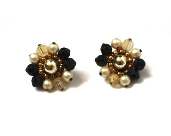 vintage earrings 50s 60s clip ons bead cluster black white pearl jewelry 1950s
