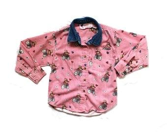 vintage girls shirt 90s blouse heart teddy bear print denim collar 1990s childrens clothing size 6
