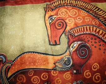 "Laurel Burch ""EMBRACING HORSES"" PANEL Outstanding Horse Fabric"