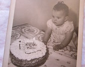 vintage photograph - Happy Birthday to PATTY - birthday cake photo, party
