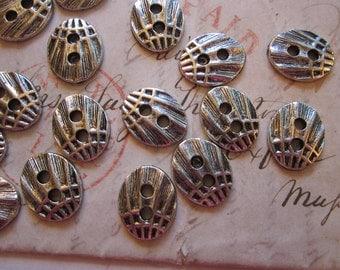 20 metal buttons - SEASHELL pattern - shell texture - silver metal buttons