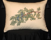 New Embroidered Juniper Branch Accent Pillow New 12 x 16 Insert -- Item 132
