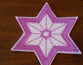 purple color Star of David embroidered iron on patch many uses
