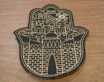 Delicate gold metallic embroidery Jerusalem scene ready to ship Chamsa, hamsa, khamsa iron on patch