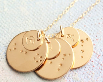 Zodiac Constellation Necklace with Initial Charms, Gold Mothers Necklace, Personalized mom necklace, new mother gift