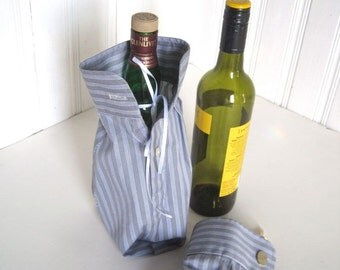 Wine Bottle Gift Bag - Bottle Bag Upcycled Shirt - Cufflink Gift Presentation