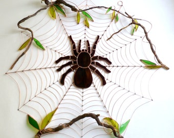 Awesome Huge Two Foot in Diameter Copper Wire Spider Web with Eight Inch Stained Glass Tarantula Wall Decor Home Decor Wire Art Unique OOAK