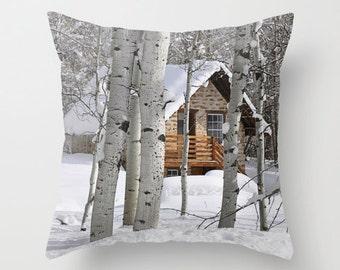 Country Winter Pillow Cover, Throw Pillow, Cabin Decor
