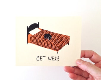 GET WELL - Screen Printed Greeting Card
