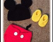 Handmade Crochet Mickey Mouse Newborn Costume Photo Prop