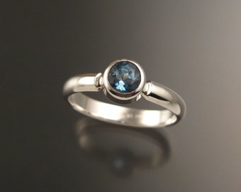 Blue Topaz ring Sterling Silver made to order in your size