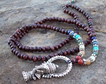 Long Beaded Necklace with Seven Main Chakra Colors and Silver Tibetan Ganesh Pendant - Yoga Necklace