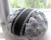 Charcoal Grey Powder Duster for Men - masculine gray - gift box option - handmade by Bonny Bubbles