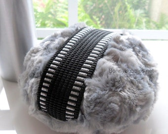 Charcoal Grey Powder Duster for Men - masculine gray - handmade by Bonny Bubbles