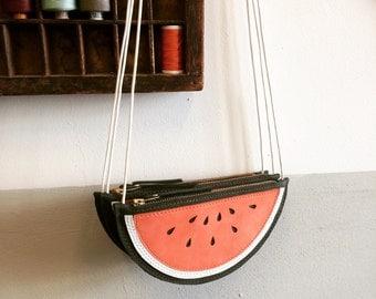 Melon purse, Watermelon purse, kids wallet, fruit bag, melon bag, Handmade, Leather Bag, Leather Purse, leather wallet