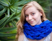Chunky Royal Blue Soft and Thick Ultimate Scarf Cowl (Ready to Ship)