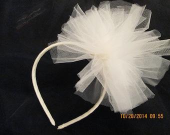 Ivory Tulle Puff Headband - Tulle Bridal Headband - Tulle Flower Girl Headband - Tulle Headband