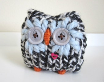 Knitted Woodland Owl Paper Weight, Cozy Weighted Plush Owl