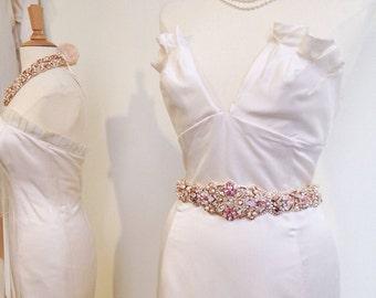 Pink and Gold Crystal Bridal Belt- Full-Waisted Bridal Sash- Rhinestone, Sequin and Pearl Bridal Sash