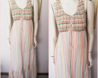NOS..Vtg.70s Green Coral Yellow White Striped Smocked Lace Up Corset Gauze Maxi Dress by Jody T.S.Bust 34-36.Waist 28-30