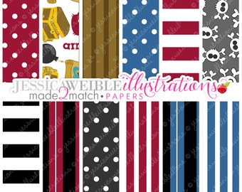We Be Pirates Cute Digital Papers for Card Design, Scrapbooking, and Web Design - Commercial Use Ok - Pirate Papers