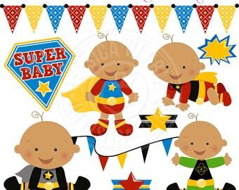 Super Hero Baby Boys V2 Cute Digital Clipart - Commercial Use OK - Baby Super Hero Clipart, Super Hero Baby Graphics