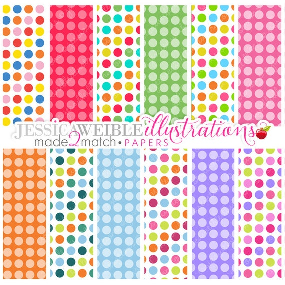 Party Polka Dot Cute Digital Papers - Commercial Use OK - Digital Patterned Polka Dot Backgrounds