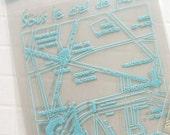 40 Paris Map Self Sealing Cellophane Bags - Blue (3.9 x 4.3in)