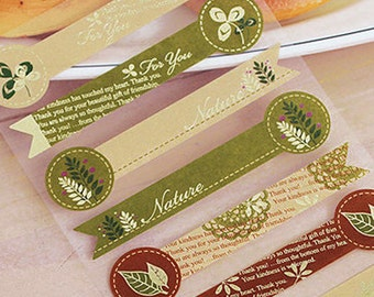 16 Leaf Nature & Letters Long Kraft Stickers (3.7 x 0.9in)