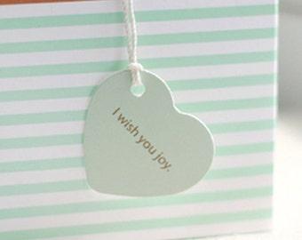20 Mint Heart Tags - I Wish You Joy (1.6 x 1.5in)