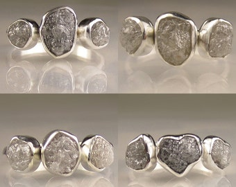 Raw Diamond Engagement Ring - Three Stone Diamond Ring Custom- Recycled Palladium Sterling