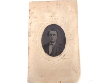 Creepy Antique Photograph, Small Vintage Photo of Unidentified Man