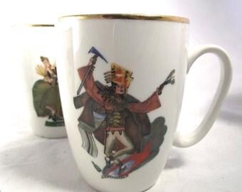 Polish Folk Dancing Mugs, Set of 4 Vintage Janolina Illustrated Mugs A1