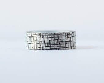 Abstract Noir  Washi Tape-  Single Roll 15 mm x 10 m
