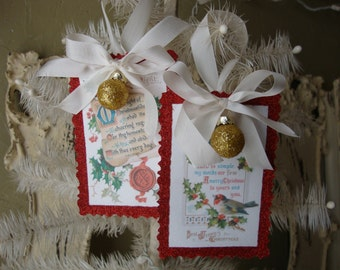 Christmas paper ornaments victorian Christmas vintage style gift tags glitter ornaments vitnage christmas postcard scrap ornaments