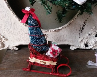 Vintage Christmas assemblage Santa sleigh flocked bottle brush tree sleigh table decor retro mini present decorations christmas mixed media
