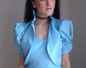 vintage 1970s maxi dress bolero Jacket cornflower blue 1940s avant garde taffeta CARRIE