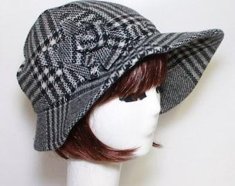 Cloche Hat- Black and White Wool Plaid- Asymmetrical Brim