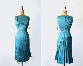 vintage 1950s 1960s dress - Suzy Perette Original Tags - bombshell satin cocktail party dress - teal blue - Small