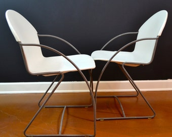 Pair of Vintage Cantilever Chrome Chairs, White Stackable Chairs, Pair of Chrome Chairs, 1970's Stacking Chairs, Eames Era, Danish Modern