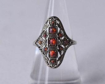 Sterling Opal Ring Vintage Valentine Gift Fire Opal Sterling Silver Ring Size 7.5 Opal Jewelry