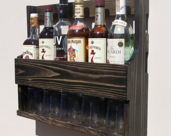 6 Bottle Wall Mount Liquor Rack With Shelf Which Holds Up To 5 Glasses  Ebony Finish