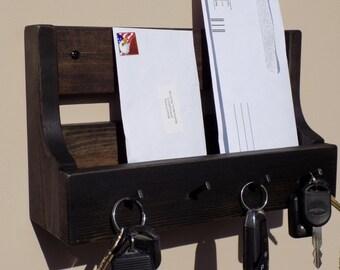 Handmade Rusic Entryway Mail And Key Holder Ebony Finish