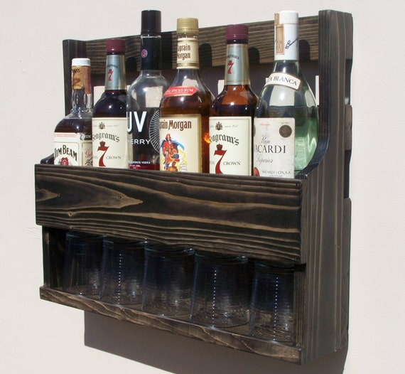 6 bottle wall mount liquor rack with shelf which holds up to 5. Black Bedroom Furniture Sets. Home Design Ideas
