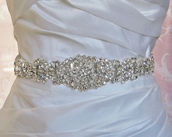 "Crystal Skinny Sash, Pale Ivory Bridal Sash, Off White, Ivory, Champagne Wedding Belt, Wedding Sash, 24"" of Rhinestones- ARIEL"