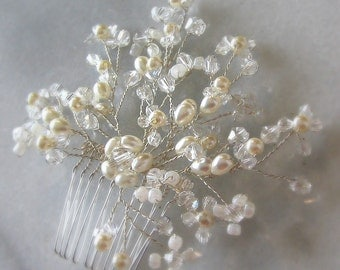 Pearl Bridal Comb, Pearls and Crystal Beads Wired Hair Comb Wedding Headpiece - LACEY