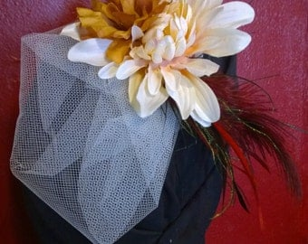 Wedding Fascinator with Ivory Flowers and Feathers
